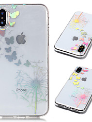 Недорогие -Кейс для Назначение Apple iPhone X / iPhone 8 Plus Покрытие / Прозрачный / С узором Кейс на заднюю панель Бабочка / одуванчик Мягкий ТПУ для iPhone X / iPhone 8 Pluss / iPhone 8