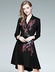 preiswerte -Damen Boho Baumwolle Schlank Das kleine Schwarze Kleid - Spitze / Quaste / Druck, Solide / Blumen / Geometrisch Knielang V-Ausschnitt