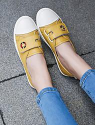 baratos -Mulheres Sapatos Couro Outono Conforto Tênis Sem Salto para Ao ar livre Bege / Amarelo / Verde