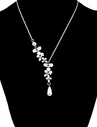 cheap -Women's Synthetic Tanzanite Thick Chain Pendant Necklace / Chain Necklace  -  Pearl Flower Ethnic, Fashion Silver 51+5 cm Necklace For Daily, Valentine