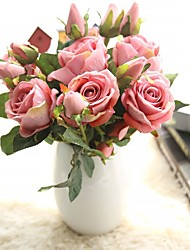 baratos -Flores artificiais 5 Ramo Rústico / Casamento Rosas / Flores eternas Flor de Mesa