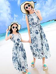 baratos -Adulto / Infantil Para Meninas Boho Praia Floral Sem Manga Poliéster Vestido Azul XL-Feminino