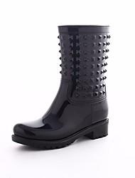 Недорогие -Жен. Обувь Кожа ПВХ  Весна Резиновые сапоги Ботинки На плоской подошве Черный
