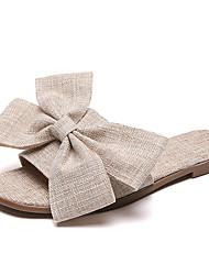 baratos -Mulheres Sapatos Linho Verão Conforto Chinelos e flip-flops Sem Salto Ponta Redonda Laço para Bege Cinzento