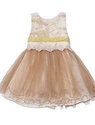 cheap -Kids Girls' Patchwork Jacquard Sleeveless Dress