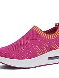 economico -Per donna Scarpe Tulle Primavera estate Comoda / Scarpette da culla Sneakers Footing Zeppa Punta tonda Blu scuro / Grigio / Fucsia