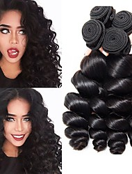 cheap -4 Bundles Malaysian Hair / Loose Wave Wavy Human Hair One Pack Solution Human Hair Weaves Gift / Classic / Hot Sale Natural Color Human Hair Extensions Women's
