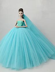 baratos -Vestidos Vestir Para Boneca Barbie Azul Claro Tule / Renda / Mistura de Seda / Algodão Vestido Para Menina de Boneca de Brinquedo