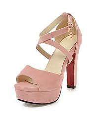 Недорогие -Жен. Обувь Нубук Лето С ремешком на лодыжке Сандалии На толстом каблуке Открытый мыс Пряжки Серый / Красный / Розовый