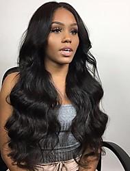 Недорогие -Remy Полностью ленточные Парик Бразильские волосы / Естественные кудри Волнистый Парик 130% Природные волосы / С отбеленными узлами Жен. Длинные Парики из натуральных волос на кружевной основе