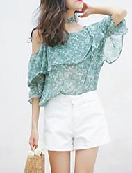 abordables -Mujer Básico Estampado Blusa Floral