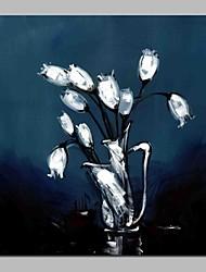 abordables -Pintura al óleo pintada a colgar Pintada a mano - Abstracto Floral / Botánico Modern Lona