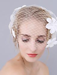 Недорогие -Один слой Euramerican Свадебные вуали Короткая фата с Вышивка бисером в виде цветов 17,72 В (45см) Полиэфир / Овальная