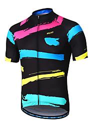 baratos -Arsuxeo Homens Manga Curta Camisa para Ciclismo - Preto / Vermelho Moto Camisa / Roupas Para Esporte, Tiras Refletoras, Redutor de Suor