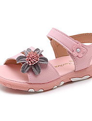 cheap -Girls' Shoes Faux Leather Summer Comfort Sandals Walking Shoes Buckle / Flower for Toddler / Infant White / Pink
