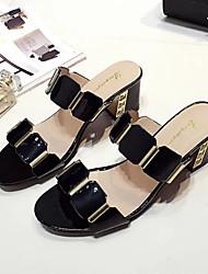 cheap -Women's Shoes PU(Polyurethane) Summer Comfort Sandals Block Heel Open Toe Rhinestone White / Black