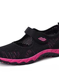 baratos -Mulheres Sapatos Tule Primavera Verão Conforto Tênis Caminhada Salto Baixo Ponta Redonda Preto / Cinzento