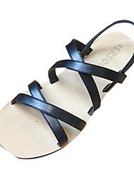baratos -Mulheres Sapatos Couro Ecológico Verão Tira no Tornozelo Sandálias Salto Baixo Preto / Azul / Castanho Escuro
