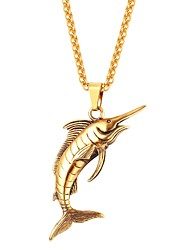 cheap -Men's Women's Pendant Necklace  -  Animals Fashion Fish Gold Black Silver 55cm Necklace For Daily