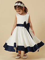 cheap -Princess Tea Length Flower Girl Dress - Satin Sleeveless Scoop Neck with Bow(s) / Sash / Ribbon by LAN TING BRIDE®