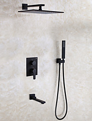 cheap -Shower Faucet - Contemporary Painting Wall Mounted Ceramic Valve / Brass / Two Handles Four Holes