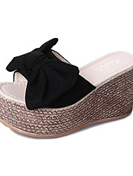 cheap -Women's Shoes Nubuck leather Summer Comfort Slippers & Flip-Flops Flat Heel Round Toe Bowknot Black / Beige / Yellow