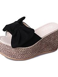 Недорогие -Жен. Обувь Нубук Лето Удобная обувь Тапочки и Шлепанцы На плоской подошве Круглый носок Бант Черный / Бежевый / Желтый