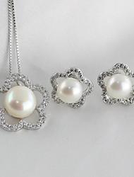 baratos -Mulheres S925 Sterling Silver / Pérolas de água doce Floral / Luxo Flor Conjunto de jóias 1 Colar / Brincos - Floral / Luxo / Doce
