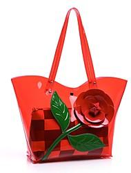 baratos -Mulheres Bolsas PVC Conjuntos de saco 2 Pcs Purse Set Apliques / Flor Roxo / Amarelo / Fúcsia