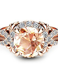 cheap -Women's Synthetic Diamond Solitaire Engagement Ring - Cubic Zirconia, Rose Gold Plated, 18K Rose Gold Plated Ball Classic, Holiday, Tropical 6 / 7 / 8 Champagne For Wedding / Party / Valentine