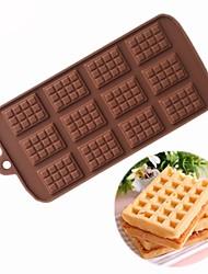 baratos -12 buracos waffles forma de bolo de chocolate moldes fondant biscoitos molde de silicone de casamento doces bolo de decoração moldes diy ferramentas de cozimento