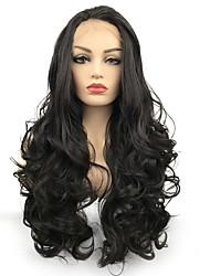 billige -Syntetisk Lace Front Parykker Krøllet Mellemdel Afro-amerikansk paryk Mørkebrun Dame Blonde Front Celebrity Paryk / Naturlig paryk Lang