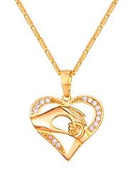 Недорогие -Цирконий Ожерелья с подвесками - Сердце Мода Золотой, Серебряный, Розовое золото 55 cm Ожерелье Бижутерия Назначение Повседневные