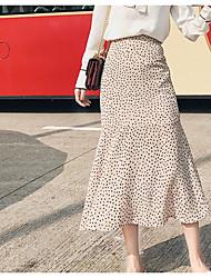 povoljno -Žene Ljuljačka Aktivan Suknje - Jednobojni / Geometrijski oblici Crno-crvena