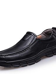 Недорогие -Муж. обувь Кожа Осень Мокасины Мокасины и Свитер Черный / Коричневый