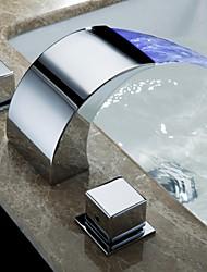 abordables -Robinet lavabo - Jet pluie Chrome Montage Deux poignées trois trous