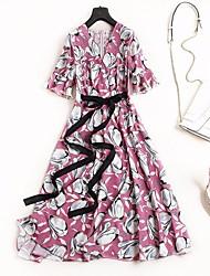 abordables -Femme simple / Chic de Rue Tee Shirt Robe - A Volants, Fleur Midi