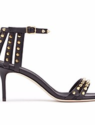 cheap -Women's Shoes PU Summer Basic Pump Sandals Stiletto Heel Round Toe Rivet for Outdoor Black