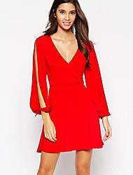cheap -Women's Sheath Dress - Solid Colored Bow / Split