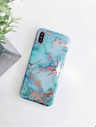 baratos -Capinha Para Apple iPhone X / iPhone 6 Estampada Capa traseira Mármore Macia TPU para iPhone X / iPhone 8 Plus / iPhone 8