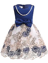 economico -Bambino Bambino (1-4 anni) Da ragazza Blu e bianco Con stampe Senza maniche Vestito