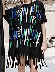 abordables -Mujer Borla Camiseta A Rayas / Arco iris