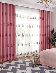 cheap -Curtains Drapes Living Room Floral 100%Polyester Faux Linen Embroidery