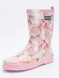 Недорогие -Жен. Резина Весна Резиновые сапоги Ботинки На плоской подошве Сапоги до середины икры Розовый