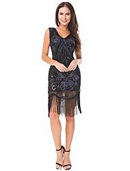 abordables -Gatsby le magnifique Rétro / Années 20 Costume Femme Bandeau Garçonne Noir Vintage Cosplay Polyester Sans Manches