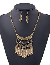 baratos -Mulheres Conjunto de jóias 1 Colar / Brincos - Oversized / Étnico Asas / Penas Dourado / Prata Conjunto de Jóias Para Festa / Cerimônia