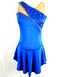 cheap -Figure Skating Dress Women's Girls' Ice Skating Dress Blue Rhinestone Sequin High Elasticity Performance Practise Leisure Sports Skating