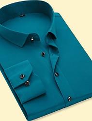 Недорогие -Муж. Для вечеринок / Офис Рубашка Хлопок Деловые / Классический Однотонный / С короткими рукавами / Длинный рукав