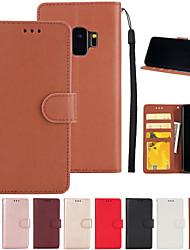 Недорогие -Кейс для Назначение SSamsung Galaxy S9 / S7 edge Кошелек / Бумажник для карт / со стендом Чехол Однотонный Твердый Кожа PU для S9 / S9 Plus / S8 Plus