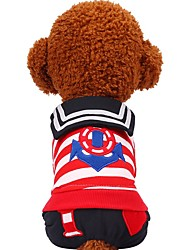 baratos -Cachorros / Gatos / Animais de Estimação Moletom / Macacão Roupas para Cães Listrado / Coração / Padrão Preto / Vermelho Algodão Ocasiões